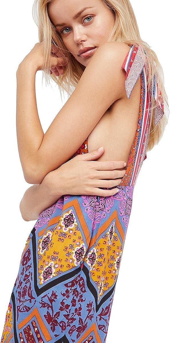 675c3ee307e Amazon.com  Free People Maritzah One Piece Deep V Colorful Bohemian  Festival Wide Leg Jumper  Clothing