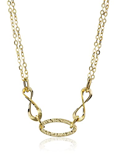 Amazon 14k yellow gold italian polished and hammered double 14k yellow gold italian polished and hammered double chain necklace 175quot aloadofball Image collections