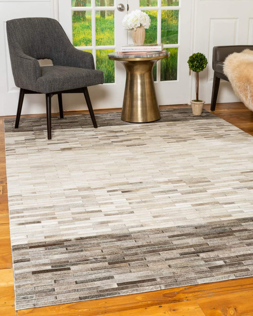 Natural Area Rugs Hand Loomed Mesa Multi-Color Cowhide Patchwork Leather Rug 8 x 10