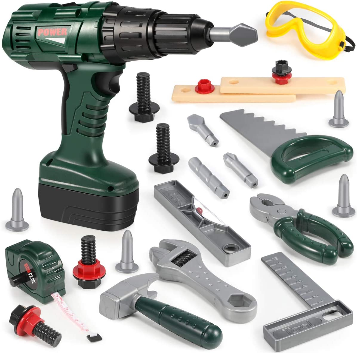 Geyiie Kids Tool Set with Power Toy Drill, Pretend Play Tool Kit for Children Construction Toy Tool Sets, Great Gift for 3 4 5 6 7 Year Old Age Boys and Girls
