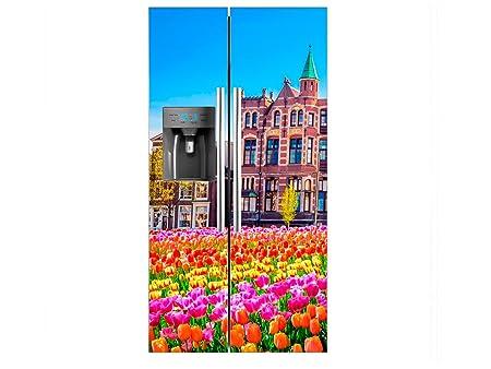 Vinilo Frigorífico Americano Tulipanes Fondo Edificios | 91x177cm ...