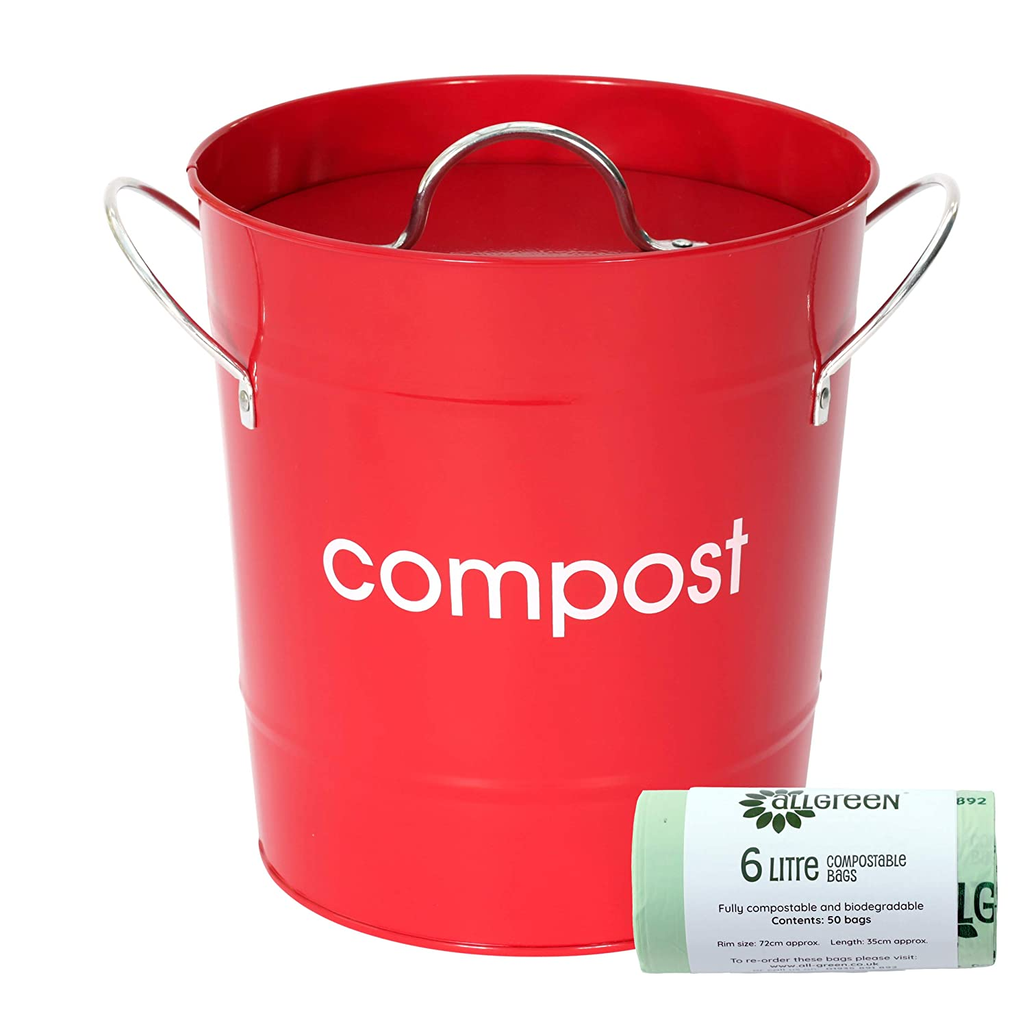Red Metal Mini Kitchen Compost Caddy & 50x All-Green Biobags - Composting Bin for Food Waste Recycling