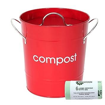 Mini Boite A Compost De Cuisine En Metal Rouge Et 50 X
