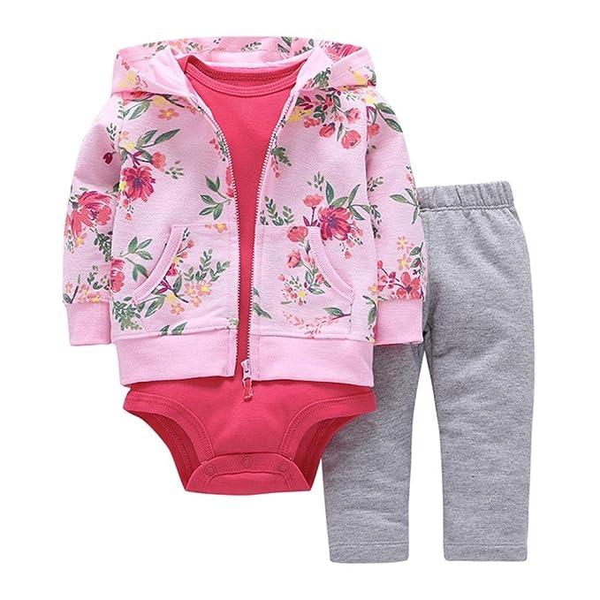 Yannerr 3pcs Chaquetas Ropa para bebé Niñas recién Nacidos Dibujos Animados  Florales Abrigo Capa con Capucha 292be3ce5123