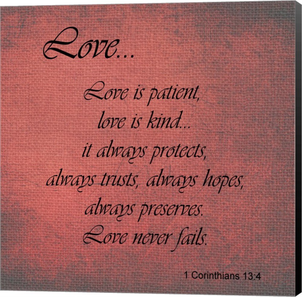 Amazon.com: Love 1 Corinthians 13:4 Canvas Art Wall Picture, Museum ...