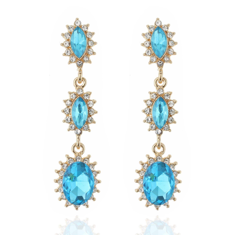 Bridal Greek Halo Tear Drop Dangle Austrian Crystal Accented Earrings statement Jewelry in Swiss Blue