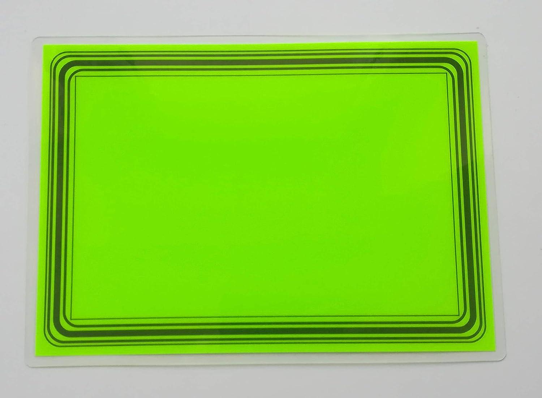 20 laminierte Preisschilder 80 x 111 mm leuchtgr/ün mit Rand Werbesymbole f/ür R/äumungsverkauf