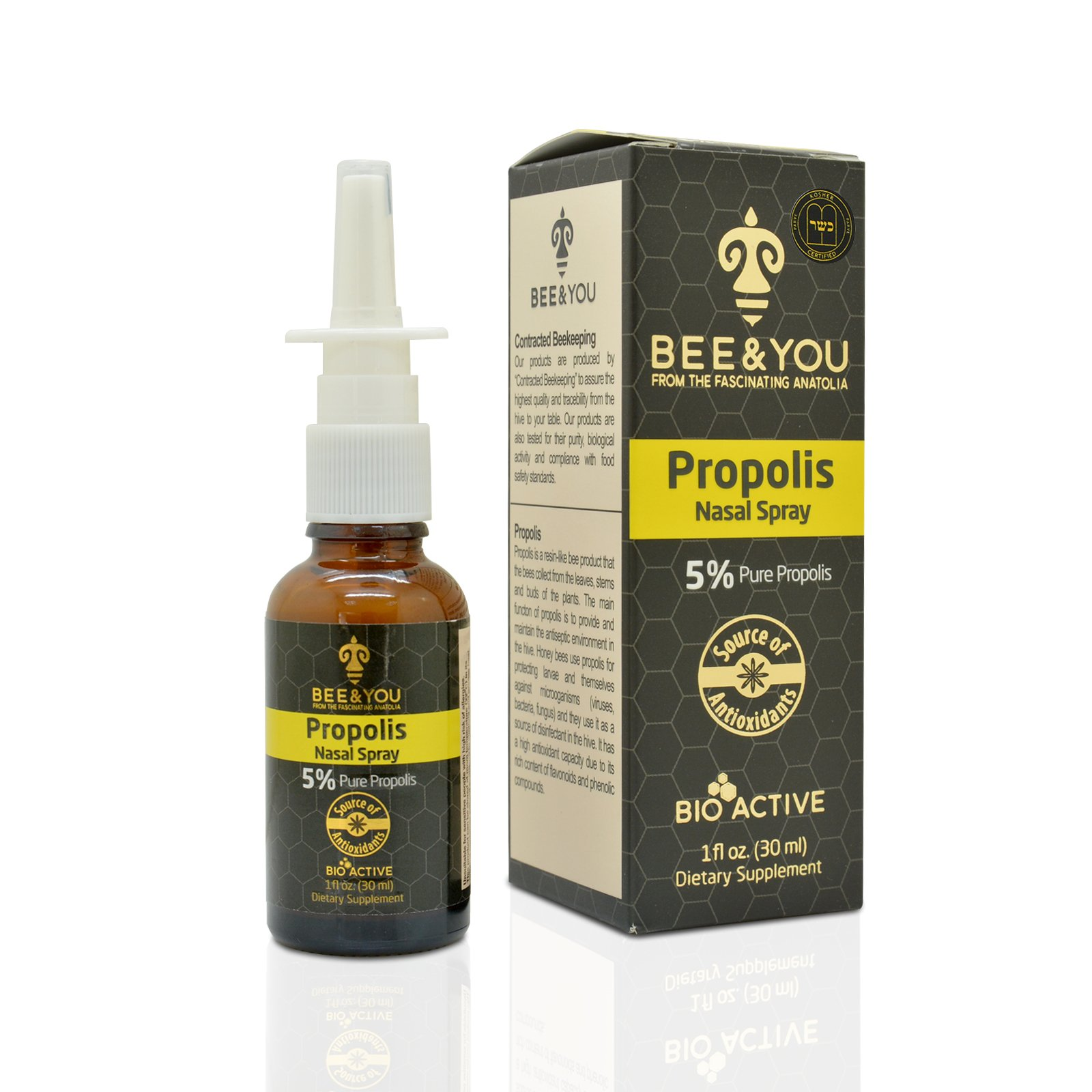 BEE & YOU Propolis Nasal Spray 5% Pure Propolis Alcohol-Free - 1 fl oz