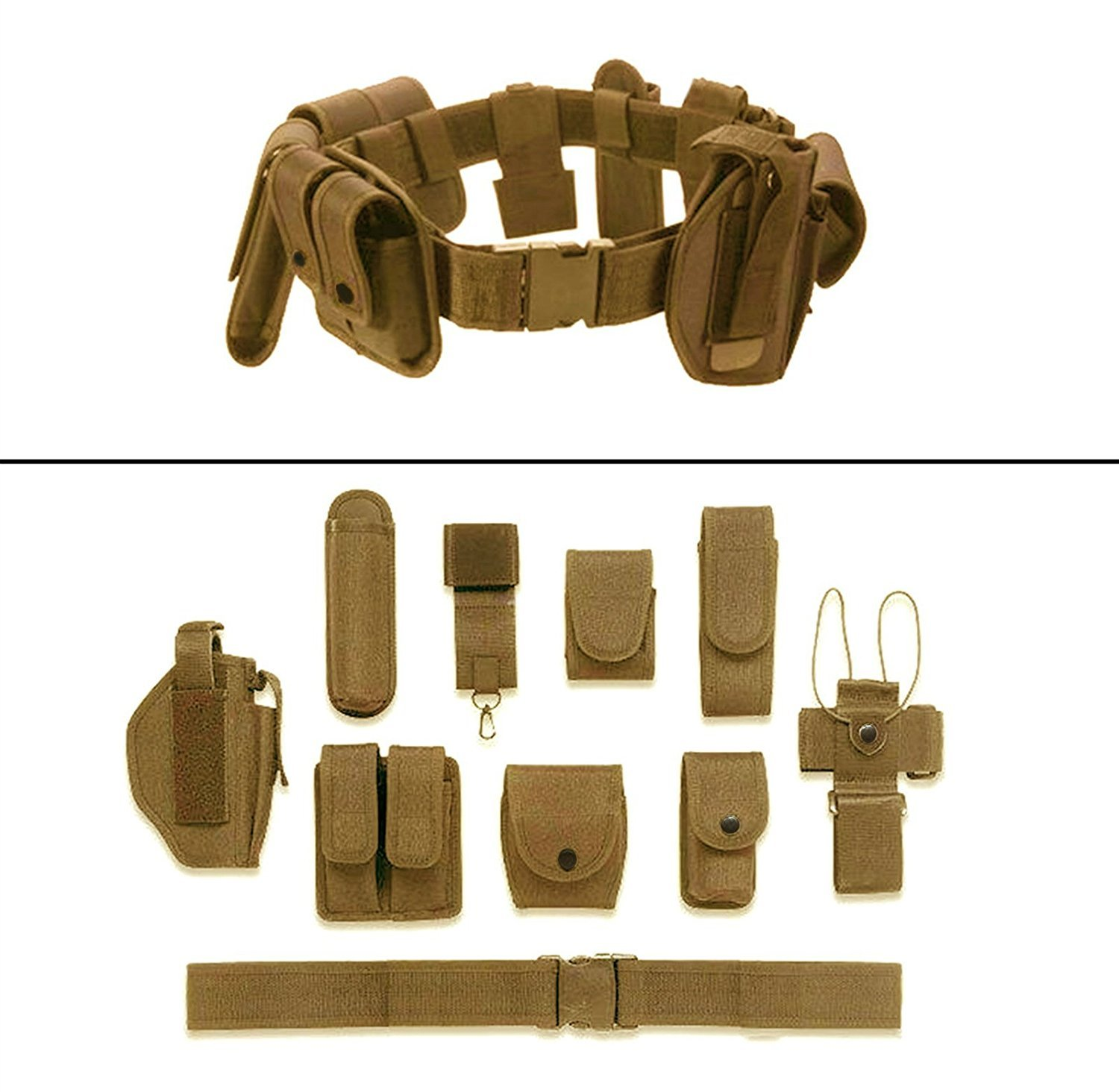 Earth Tan 10-Pc Military Duty Nylon Utility Belt - DeluxeAdultCostumes.com
