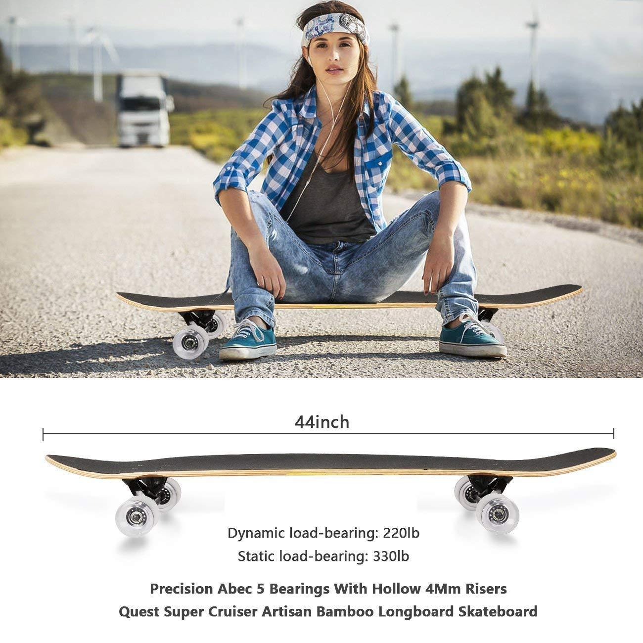 RockBirds Skateboard, 44 inch Complete Super Cruiser Longboard Skateboard, 7 Layer Canadian Maple Deck