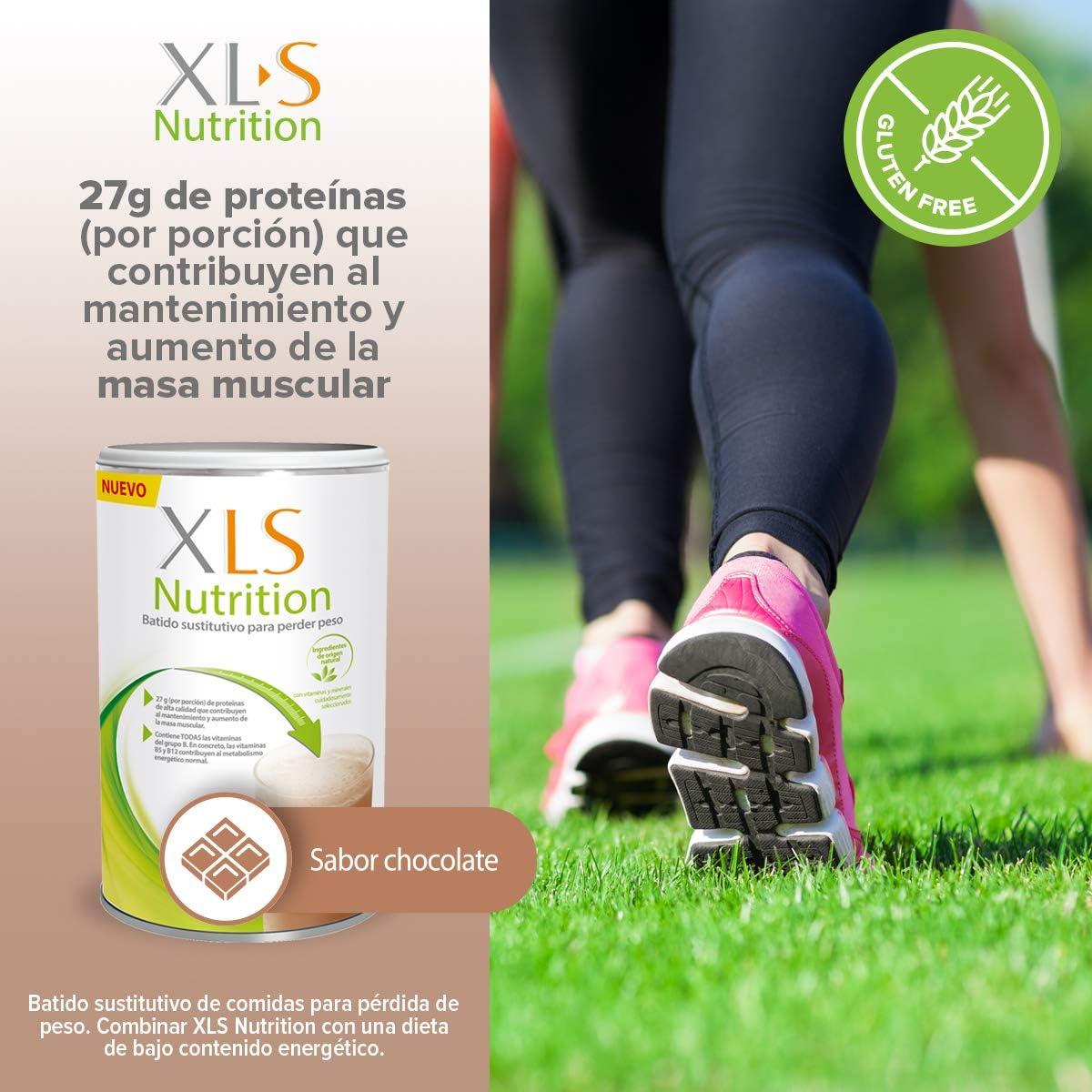 XLS Medical Nutrition Chocolate + Shaker de regalo - Batido sustitutivo de comidas para perder peso - Ingredientes de origen natural - contiene todas ...