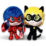 Prodigiosa 2x Peluches Ladybug y Adrien Cat Noir 25cm Las aventuras de Ladybug Muñecos Superhéroes Adrian