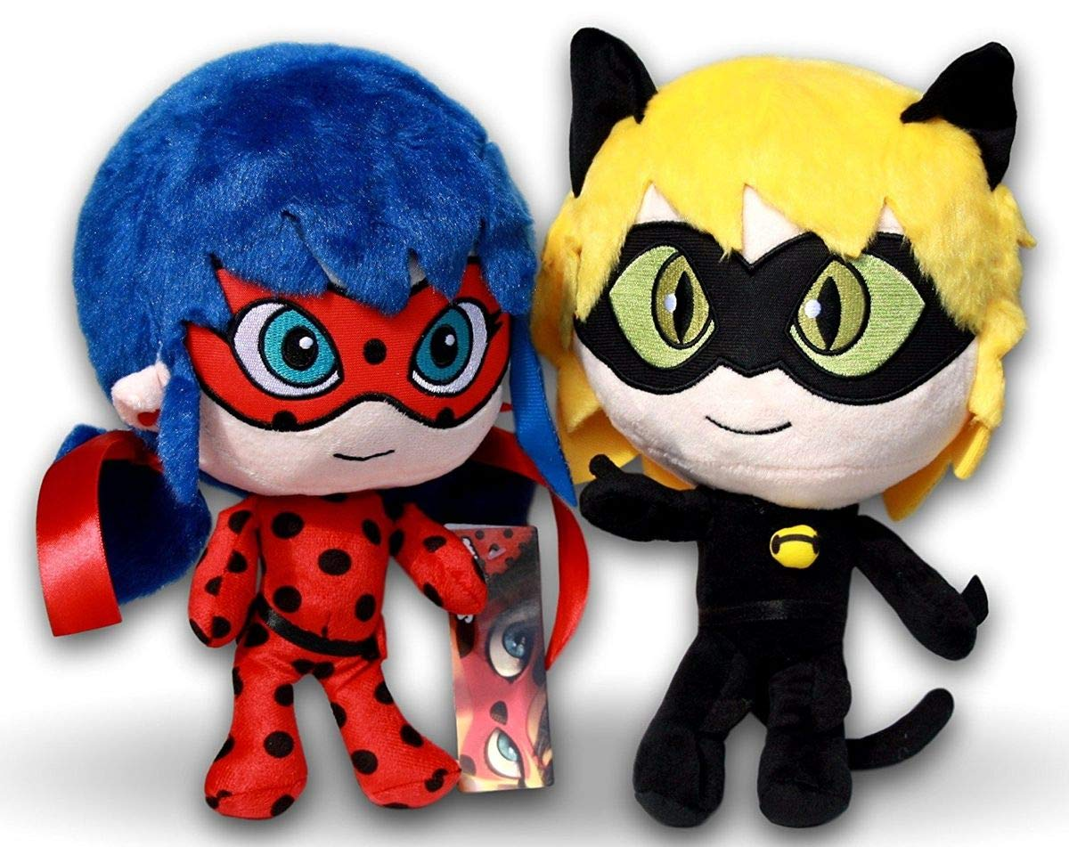 Prodigiosa 2x Peluches Ladybug y Adrien Cat Noir 25cm Las aventuras de Ladybug Muñecos Superhéroes Adrian y Marinette Peluche Superheroína Miraculous Whitehouse