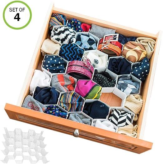 Amazon Com Evelots Drawer Organizer Divider Sock Belt Scarf Underwear 112 Slots Total Set 4 Home Kitchen