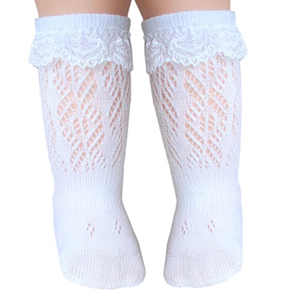 7d1761531 JHosiery Baby girls lace knee high socks with seamless toe for sensitive  feet (UK3-5.5 12-24M