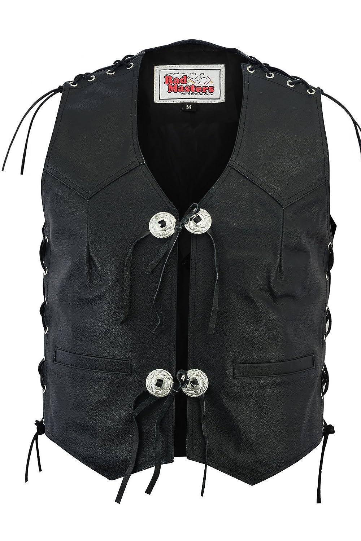German Wear piel moto Sotana Chaleco Negro