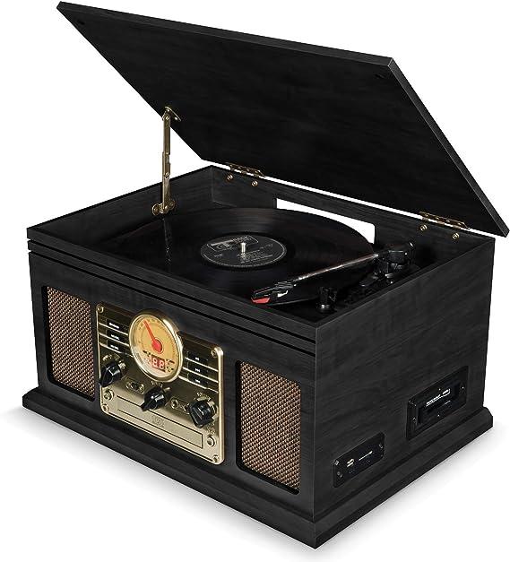 Plattenspieler mit Lautsprecher USB Schallplattenspieler Bluetooth Vinyl Plattenspieler Belt Drive 3 Gang Portable Plattenspieler Koffer eingebauten Stereo Lautsprechern unterst/ützt USB//SD//RCA//Aux in
