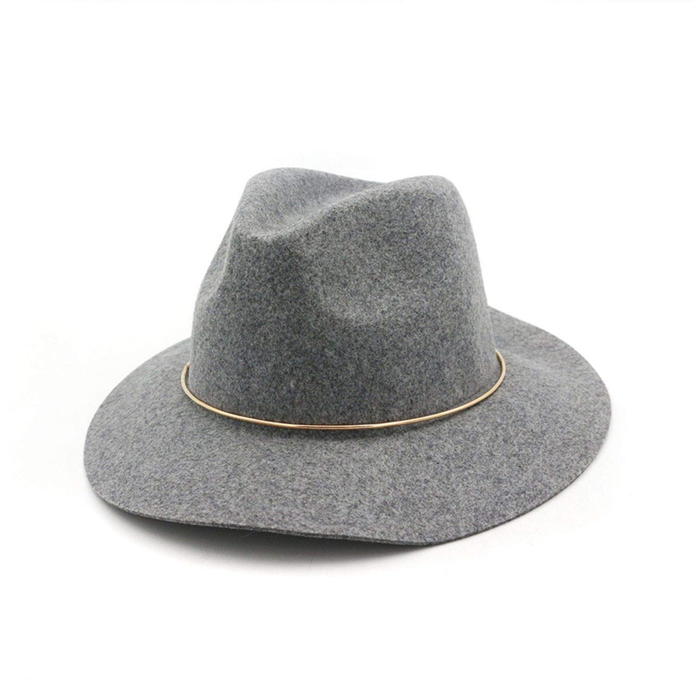 100/% Wool Men Women Fedoras with Metal Ring European US Wide Brim Jazz Formal Party Cap Trilby Panama Hats