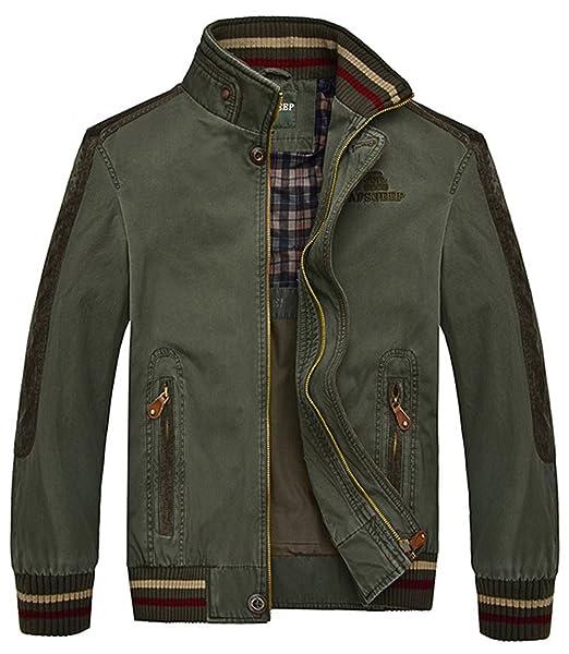 YYZYY Hombre Clásica algodón Cuello Alto Primavera Otoño Campo Militar Bomber Chaquetas Abrigos Mens Military Jacket: Amazon.es: Ropa y accesorios