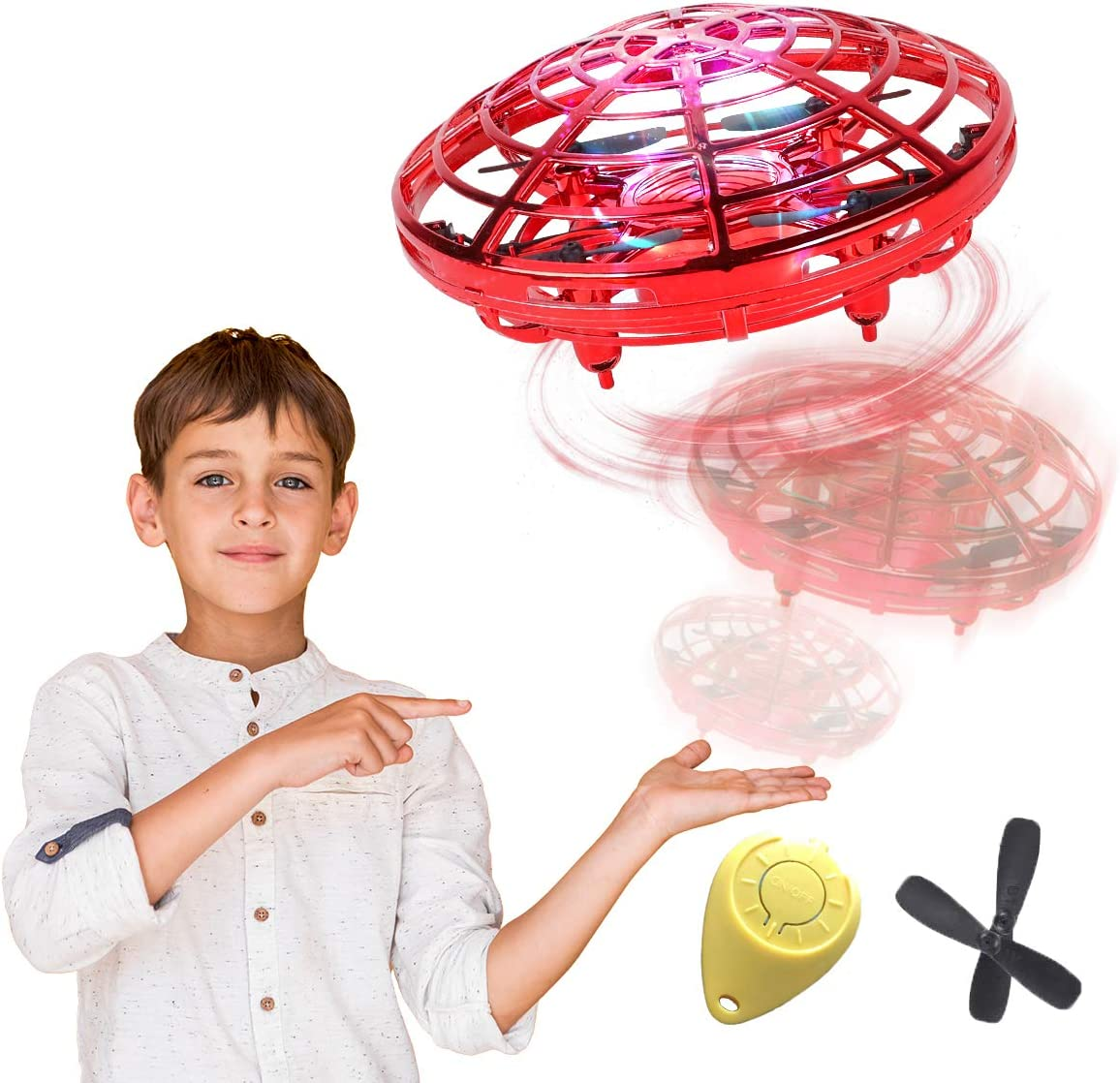 98K Hand Operated Drones for Kids or Adults, Light Up Joy Flying Ball Drone, Helicopter Mini Drone, Easy Indoor Small Flying Toys for Boys or Girls Red