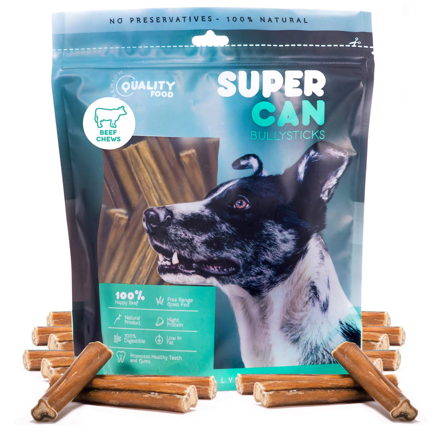 SUPER CAN BULLYSTICKS Premium 4-5 inch Bully Sticks [ 1 Lb ] 100% Natural Gourmet Treats and Chews for Dogs (40-50 Sticks)