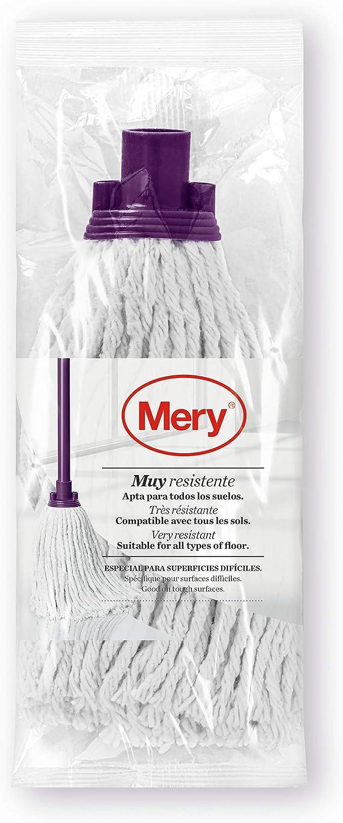 Mery Fregona de algodón Universal, Reciclado, Blanco, Lila, 25 cm ...