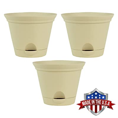 3 Pack 9.5-in. Latte Quartz Plastic Self Watering Flare Flower Pot or Garden Planter : Garden & Outdoor