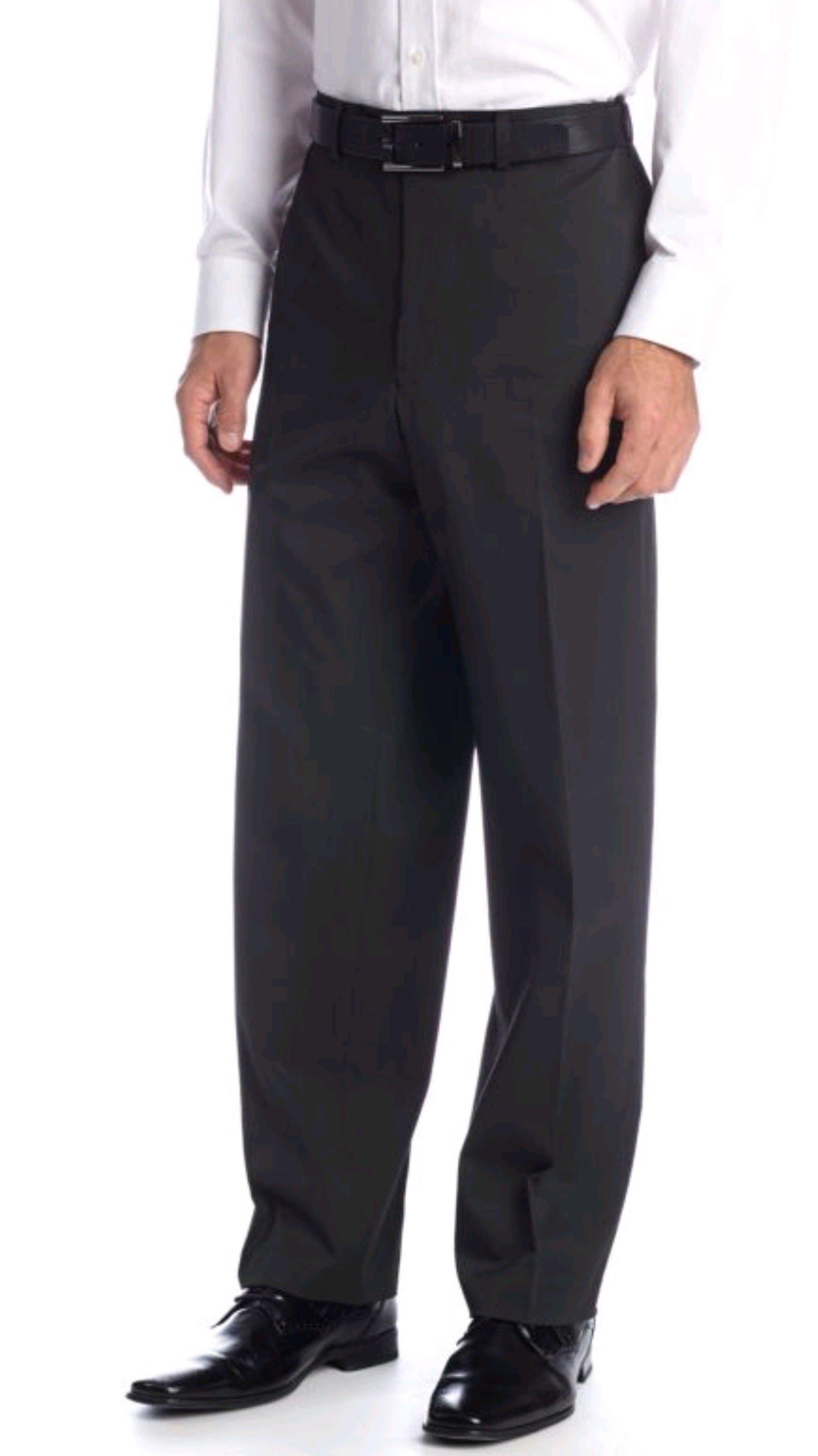 IZOD Men's Classic Fit Suit Separates Fine Stripe Pants, Black (32WX30L)