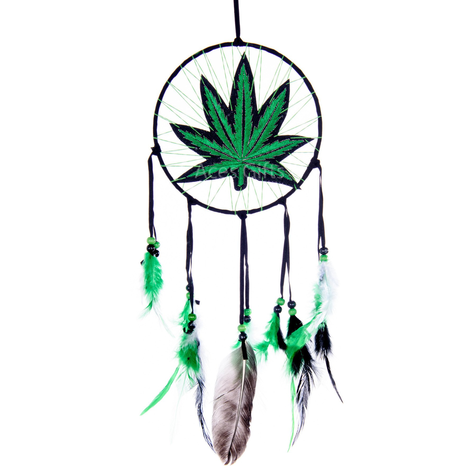 Marijuana Leaf Pot Weed Embroidered Dream Catcher (16 Inches Long) by Aces Gifts