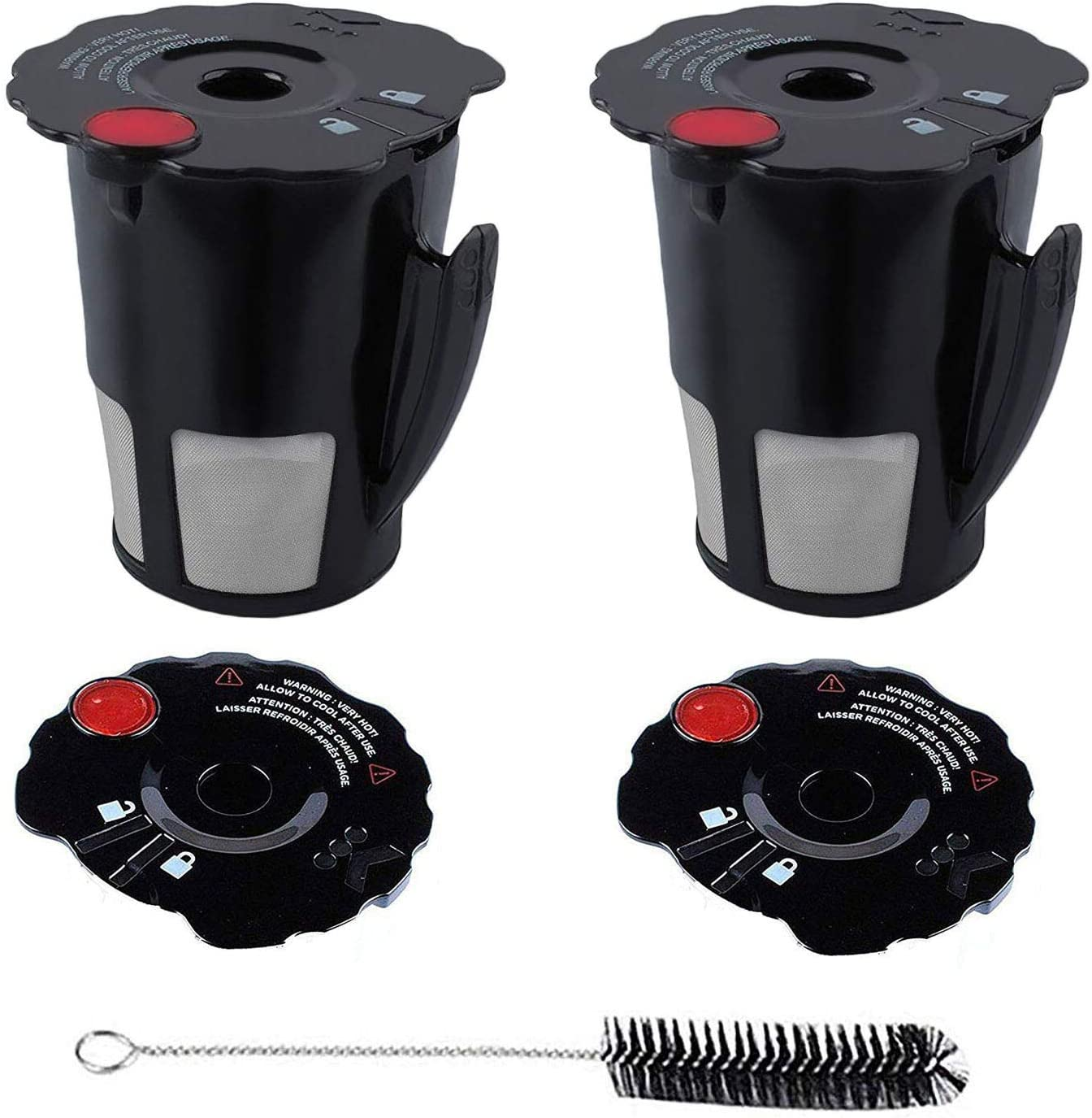 119367 Reusable Coffee Filter Compatible with Keurig My K-Cup 2.0 Filter,Refillable Pod Coffee Makers,Replace K200,K350,K400,K475,K500 Series with Coffee Lid Cleaning Brush BPA Free Ground (2pack)