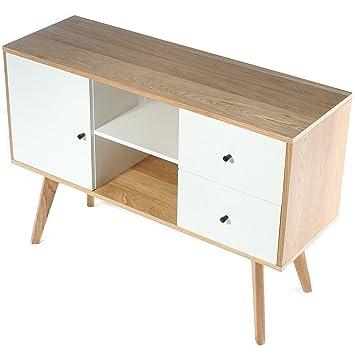 Charles Jacobs Mayfair Range Sideboardtv Unit Solid Oak Wood Legs White Matt Finish Living Room Furniture