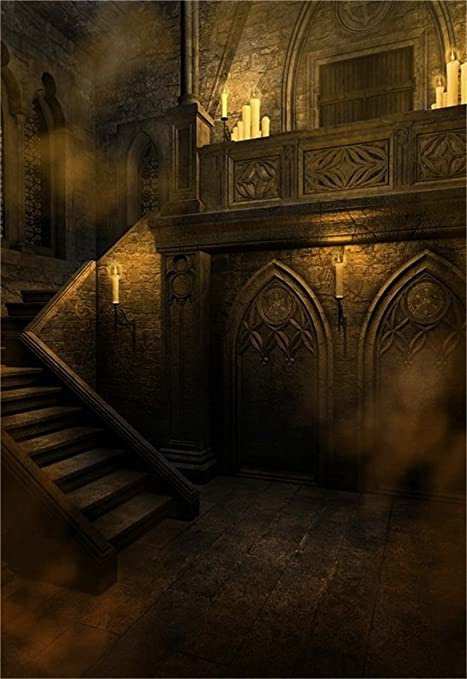 AOFOTO 6x8ft Gloomy Gothic Style Backdrop Scary Vintage Room Photography Background Stone Wall Stairs Candle Halloween