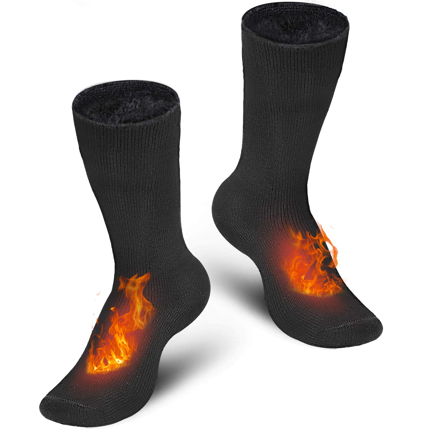 Pvendor Thermal Socks for Men, 2 Pairs of Heated Socks for Women, Boys Socks Extreme Cold Insulated Fuzzy Winter Socks