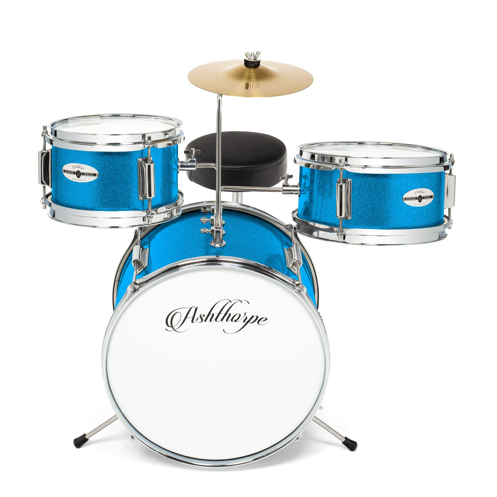 Ashthorpe 3-Piece Complete Kid's Junior Drum Set - Children's Beginner Kit with 14'' Bass, Adjustable Throne, Cymbal, Pedal & Drumsticks - Blue by Ashthorpe (Image #2)