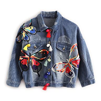 Colorful Butterfly Embroidery Ladies Jean Jackets Patch Designs Womens Denim Coats with Tassel Short Chaquetas Mujer