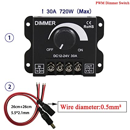 Kabenjee DC 12~24V PWM Dimmer Switch Knob ON/OFF Switch with Black ...