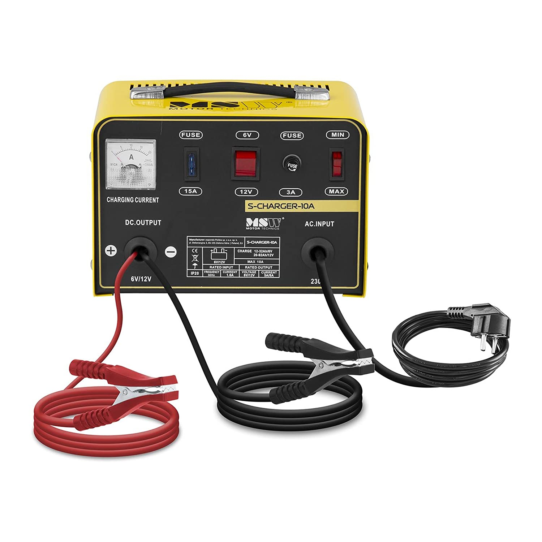 MSW Cargador de batería Coche S-CHARGER-10A (6/12 V Tensión ...