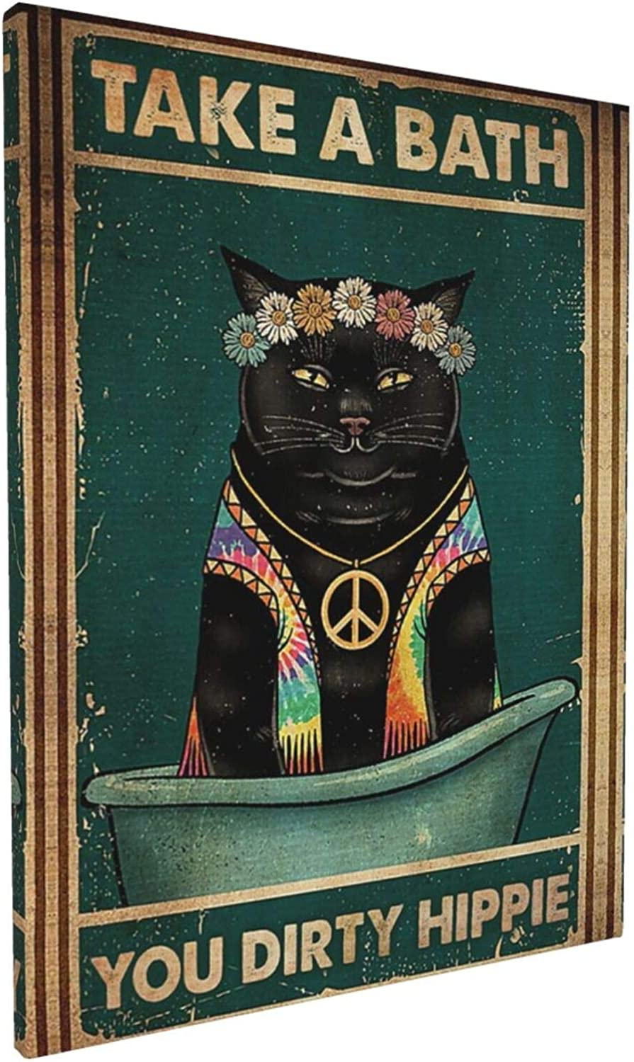 Socira Bathroom Wall Decor Hippie Black Cat Take A Bath Canvas Pictures Artwork Ready to Hang Abstract Wash Dirty Paws Wall Art Framed Modern Artwork for Living Room, Kitchen, Bedroom, Home Decoration