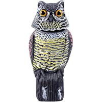 Ohuhu Horned Owl Decoy, Natural Enemy Pest Deterrent Scarecrow, Pest Control Repellents
