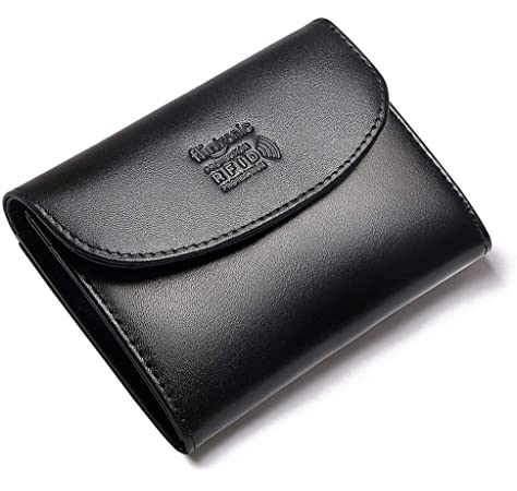 d6434b0b6 flintronic Cartera Piel, Monedero Moda Mujeres/Hombres Mini Billetera RFID  Protección Bolsillo Organizador con