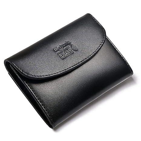 flintronic Cartera Piel, Monedero Moda Mujeres/Hombres Mini Billetera RFID Protección Bolsillo Organizador con Cremallera Botones, Negro con Caja (&11 ...