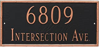 "product image for Montague Metal PCS-0076S2-W-SBS Washington Rectangle Two Line Address Sign Plaque, 7.5"" x 16"", Sea Blue/Silver"