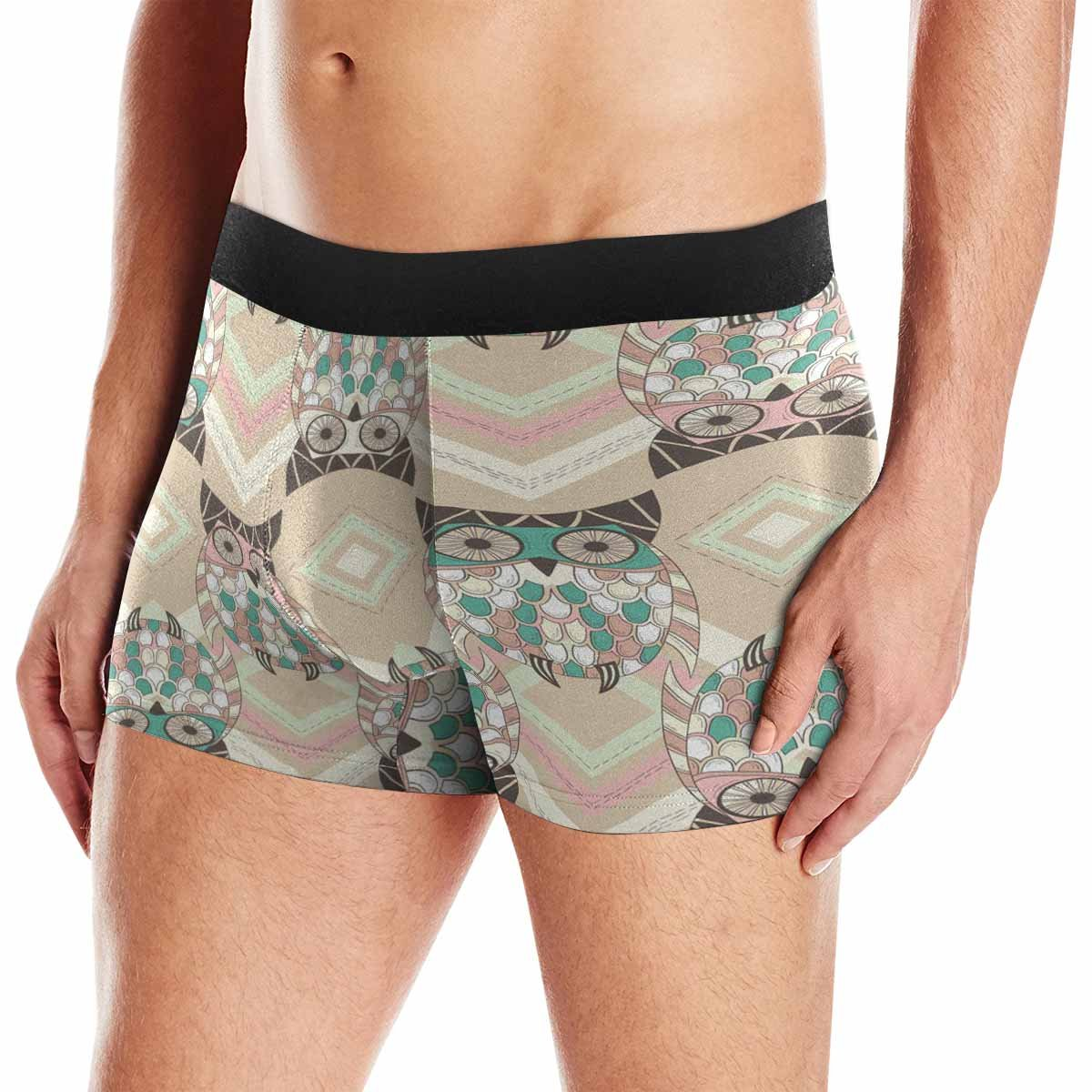 XS-3XL INTERESTPRINT Mens All-Over Print Boxer Briefs Cute Owl Pattern with Native Elements