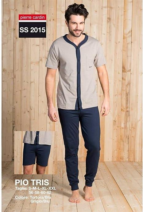 GIOSAL - Pijama Pierre Cardin de algodón, para hombre, tres piezas, para primavera-verano, modelo Pio, Hombre, gris: Amazon.es: Deportes y aire libre