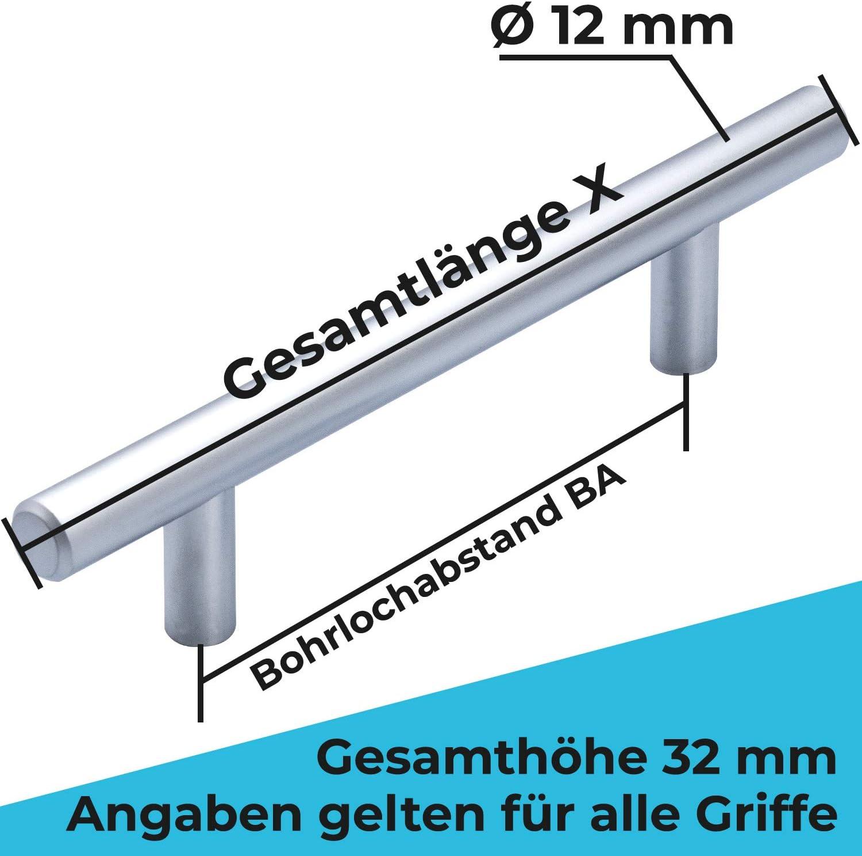 1 Griff /Ø12mm 64mm STAHLIA/® M/öbelgriff EDELSTAHL MASSIV Stangengriff K/üche Schrank Wohnzimmer