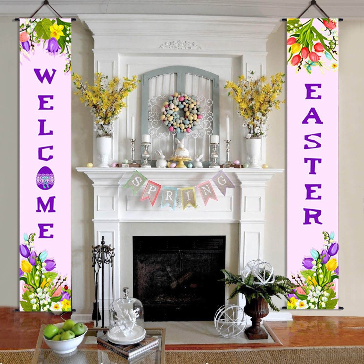 71x12 Inch Easter Decorations Outdoor Indoor Welcome Easter Hanging Banner Sign for Easter Home Outdoor Wall Front Door Decor Party Favor Ornament 2 Pack Easter Porch Sign