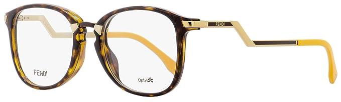 29a3c7cf7163 Amazon.com  Fendi Oval Eyeglasses FF0038 ZCZ Havana Gold Mustard ...