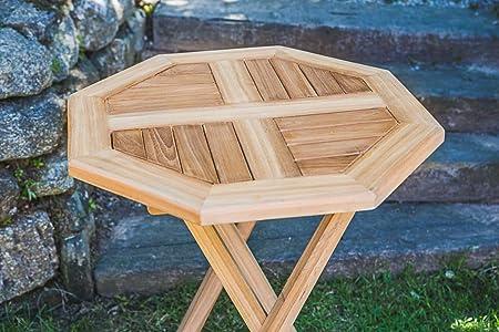 60 cm en teck massif pliable octogonale Patio Table: Amazon ...