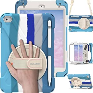 BRAECN Kids Colorful Case for iPad Mini 5th 2020/ iPad Mini 4th 2015, Protective Shockproof Heavy Duty Case Cover with Pencil Holder, Carrying Strap, Hand Strap, Stand for iPad Mini 5/4 - Rainbow Blue