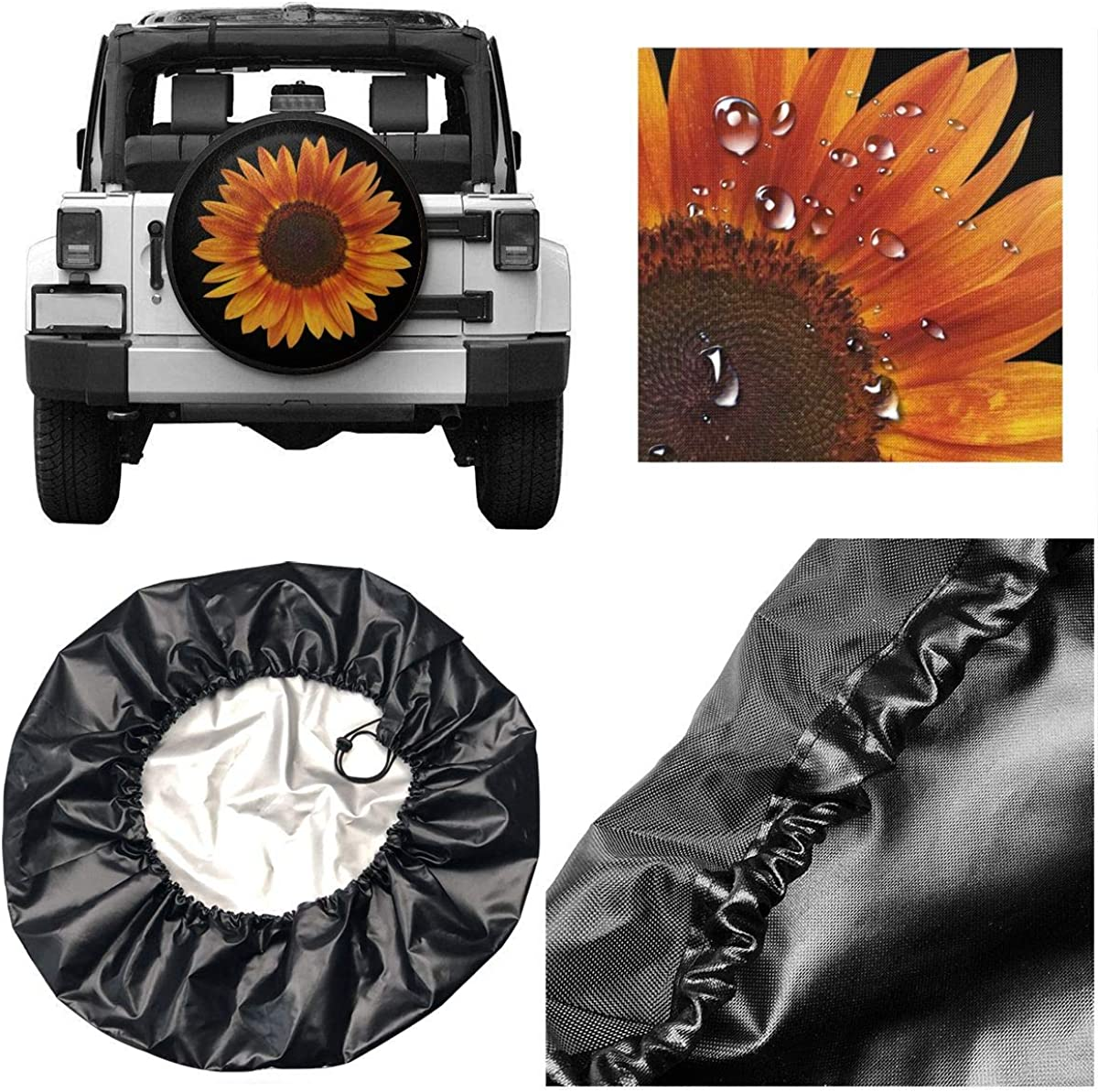 14, 15, 16, 17 inch INYANIDI Spare Tire Cover Sunflower Universal Sunscreen dust-Proof Corrosion Protection Wheel Covers for Jeep RV SUV